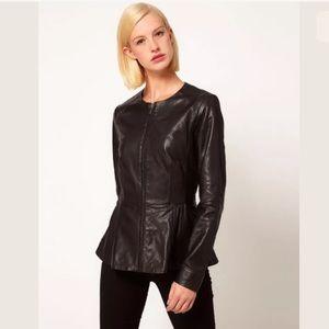 ASOS Patent Leather Peplum Zip Up Jacket Blazer 4